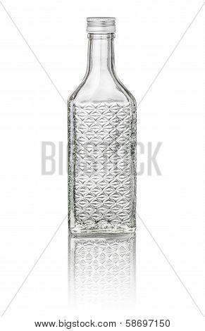 isolated beveled cherry brandy bottle on a white background