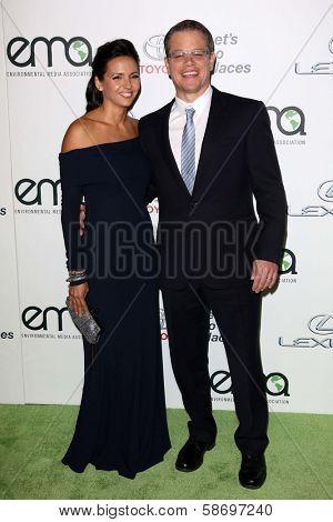 Luciana Damon and Matt Damon at the 23rd Annual Environmental Media Awards, Warner Brothers Studios, Burbank, CA 10-19-13