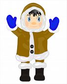 foto of eskimos  - Man eskimo in warm cloth on white background - JPG