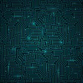 stock photo of circuits  - Futuristic Shining Dark Blue Technology Background  - JPG