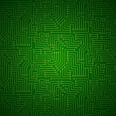 stock photo of circuits  - Shining Green Yellow Printed Circuit Board  - JPG