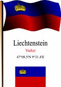Liechtenstein Wavy Flag And Coordinates
