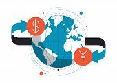 pic of international trade  - Flat design style modern vector illustration concept of currency exchange converting money with yen and dollar symbols global trading on stock market - JPG