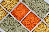 Selection of lentils in wooden compartments