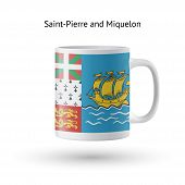 Saint-Pierre and Miquelon flag souvenir mug on white.