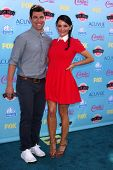 Max Greenfield and wife Tess Sanchez at the 2013 Teen Choice Awards Arrivals, Gibson Amphitheatre, U