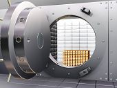 stock photo of bank vault  - 3D render of open bank vault with gold bars inside - JPG