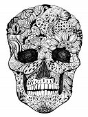 stock photo of butterfly-bush  - Human skull with hand - JPG