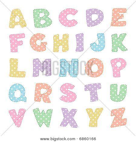 Alphabet in Pastel Polka Dots