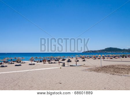 Sun chairs and umbrellas on beach