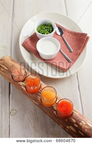 Red Caviar Assorti With Herbs And Sour Cream