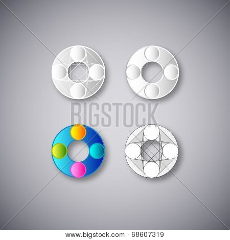 Abstract Vector Combination of Letter O