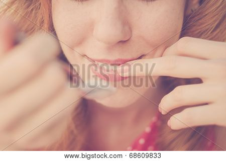 Beautiful Pin-up Girl Eating Ice Cream, Close Up