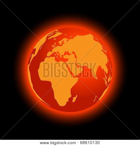 Abstract Global Warming On Black Background, Vector