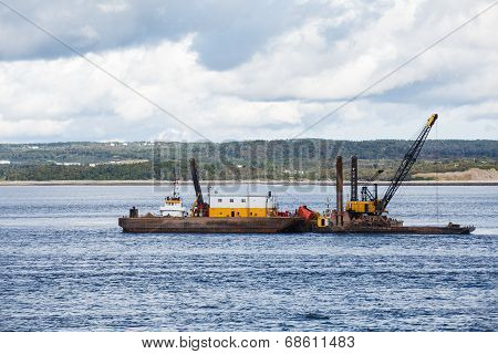 Cranes On Working Barge