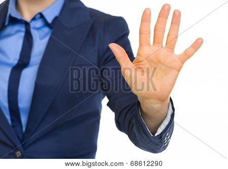 Closeup On Business Woman Showing 5 Fingers