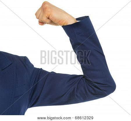 Closeup On Business Woman Showing Biceps