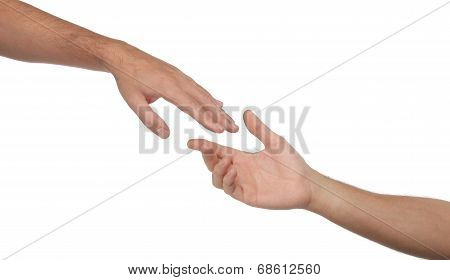 Two male hands reaching towards each other