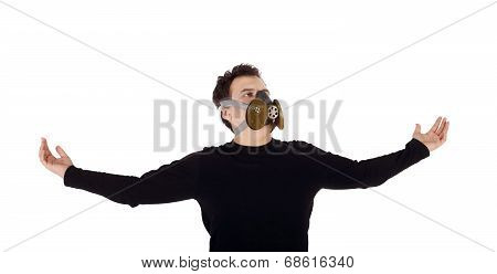 Young Handsome Man In Black Shirt And Respirator With Outstretched Arms Isolated On White