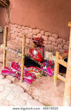 Chivay, Arequpa, Peru - Circa 2013:an Unidentified  Woman Sell Hand Crafts In Outdoors Circa 2013 In