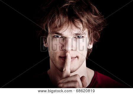 Shhhh - Quiet, Silence, Secret Gesture, Young Handsome Man..