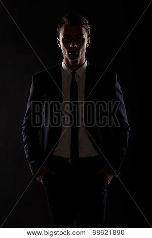 Business Man In Black Suite, Backlight