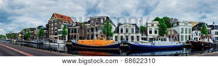 Assen Canals And Typical Houses. Holland.
