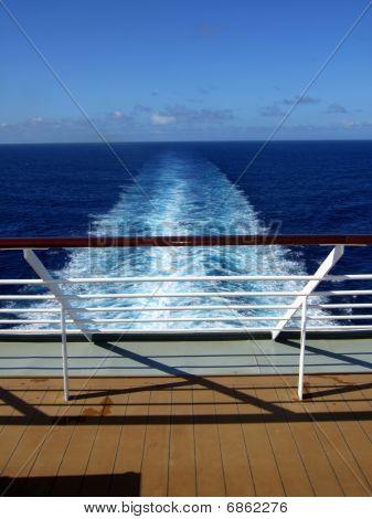 Passenger Cruise ship back view