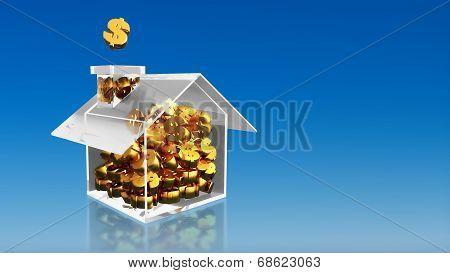 Investment Saving Dollar House Blue