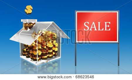 Investment Saving Money At House Sale Blue Sky