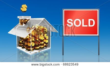 Investment Saving Money At House Sold Blue Sky