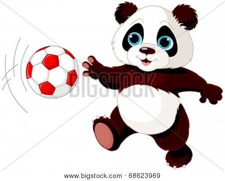 Illustration of panda cub playing soccer