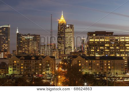 ATLANTA, GEORGIA - February 3, 2014:  Modern architecture of the downtown Atlanta skyline at dusk.