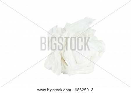 Crumpled Tissue Paper Isolated White Background.