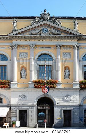 LUGANO, SWITZERLAND - JULY 5, 2014: Town Hall (Palazzo Civico), Lugano. The Town Hall was constructed in 1844 to provide a suitable venue for the cantonal government.