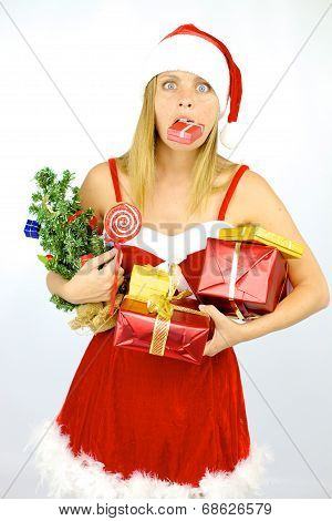 Female Santa Claus In Trouble With Too Many Packages