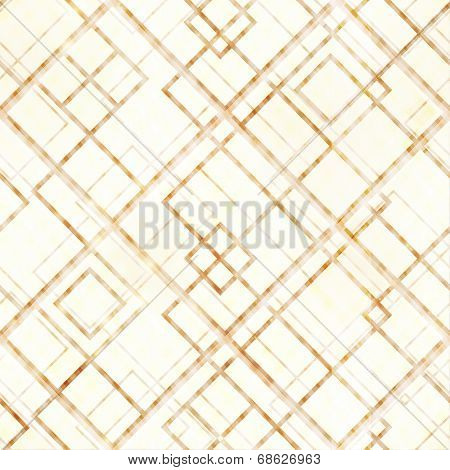 Abstract lines and rhombs design a seamless geometric pattern in color shades of  light brown, beige and light yellow or off-white. Overlying effects give it a  distressed feeling.