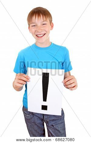 Kid Holds Exclamation Mark