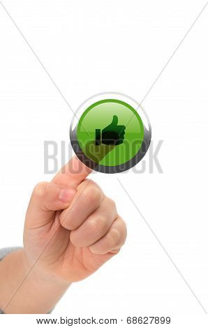 Asian Child Finger Touching Like Button On A Virtual Touch Screen