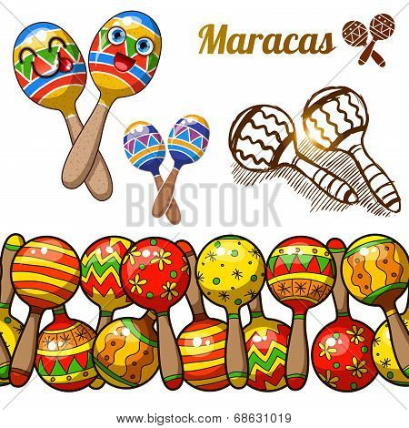 Set of colorful fun maracas