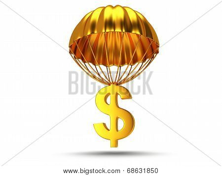 Golden Parachute With Dollar Sign