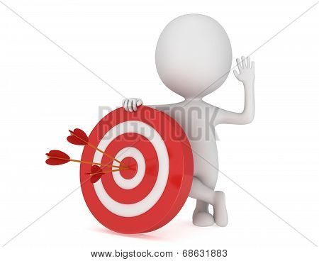 3D Man With Red Target.