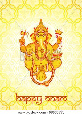 Warm Ganesha postcard for Indian Onam holiday