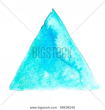 Abstract watercolor art hand paint isolated on white background. Watercolor stains. Triangle green-blue watercolour banner