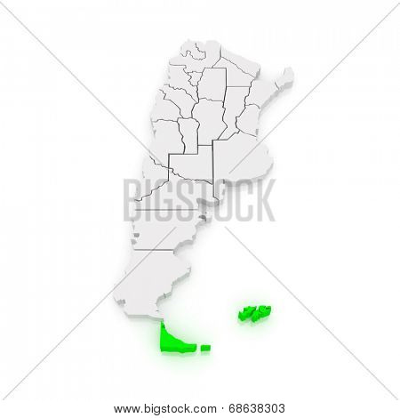 Map of Tierra del Fuego, Antarctica and South Atlantic Islands. Argentina. 3d