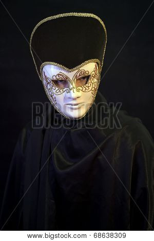 Man Wearing Theatre Mask