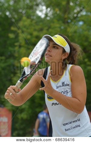 MOSCOW, RUSSIA - JULY 17, 2014: Samantha Barijan of Brazil on the training before the ITF Beach Tennis World Team Championship. Russia hosts the championship for the third time