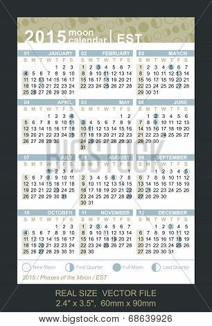 Vector Calendar 2015 With Phases Of The Moon/ Est