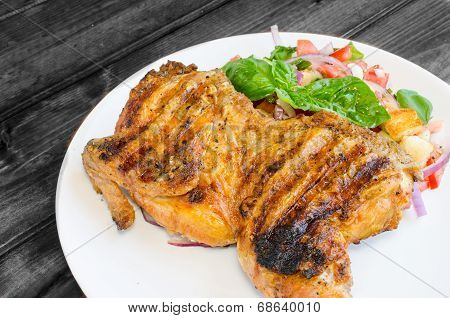 Chicken Under A Brick With Panzanella Salad