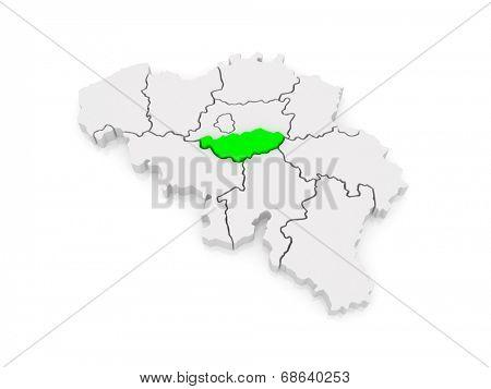 Map of Walloon Brabant. Belgium. 3d